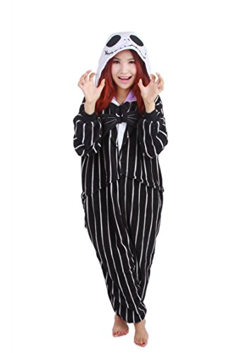 COHO Unisex Kostüm The Nightmare Before Christmas/Jack Skellington, als Pyjama oder Verkleidung verwendbar, für Erwachsene geeignet, Kigurumi-Stil Medium (162-171 cm)