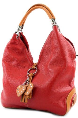 modamoda de - 330 - ital Handtasche Shopper Schultertasche Leder, Farbe:Rot/Camel