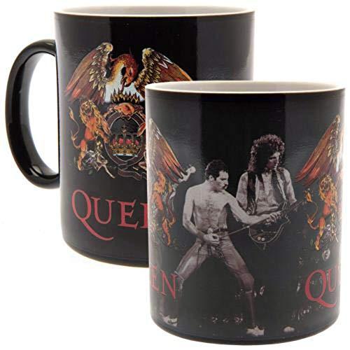 Queen Tasse mit Thermoeffekt Classic Crest schwarz, bedruckt, aus Keramik, Fassungsvermögen ca. 420 ml..