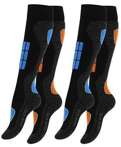 VCA 2 Paar Damen SKI Funktionssocken, Skisocken mit Spezialpolsterung, Blau/Orange, Gr. 39-42
