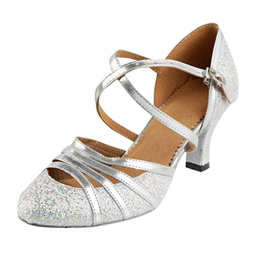 Damen Standard Latein Funkeln Tanzschuhe Frauen Ballsaal Salsa Tango Tanzen Schuhe Hochzeit Abendschuhe Knöchelriemen, Celucke Klassische Pumps Elegante Brautschuhe (Silber, EU37)