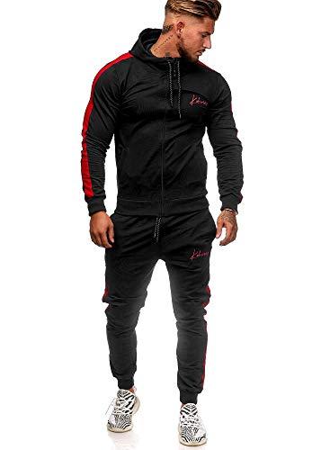 Koburas Herren Jogginganzug Trainingsanzug Sportanzug Jogginghose Hoodie-Sporthose Jogger Modell 3392 (L, Schwarz-Rot)