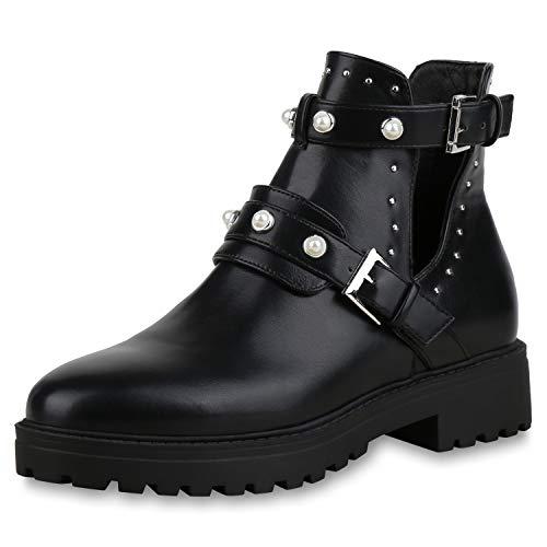 SCARPE VITA Damen Stiefeletten Ankle Boots Zierperlen Plateau Booties Cut Outs 173359 Schwarz 39