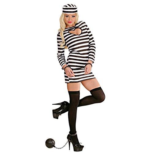 Amakando JGA Sträfling Kostüm - M (38/40) - Häftling Damenkostüm Gefangene Verbrecherin Knasti Junggesellenabschied Outfit Faschingskostüm Frauen Sexy Sträflingskostüm Damen