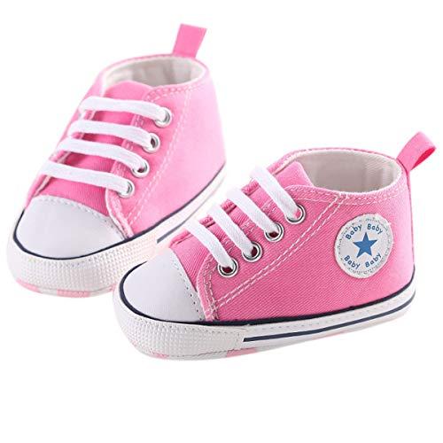 Chennie 0~12M Säuglingsneugeborenes Baby-Mädchen-Segeltuch-Stern-hohe Spitzen-Turnschuh-Denim-Schuhe (Color : Pink, Size : 0-6 Months)