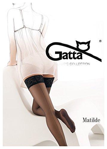 Gatta Matilde - klassisch-elegante, verführerische, halterloser Strümpfe mit Naht - Stay-Ups - Größe 3-4 / M-L - Schwarz