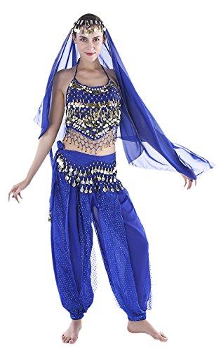 Seawhisper Orientalisches Bautanz Kostüm Bekleidung Accessoires Erwachsene Damen Haremsdame Karnevalskostüm Faschingskostüm Jasmin Jeannie Aladdin Arabische Prinzessin indisch Bollywood
