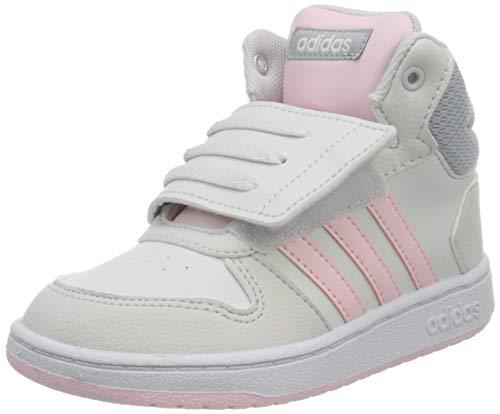 adidas Unisex Baby Hoops Mid 2.0 Sneaker, Dash Grey/Clear Pink/Halo Silver, 21 EU