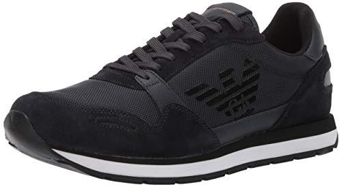 Emporio Armani Herren Lace-Up Sneaker Turnschuh, Navy, 43 EU