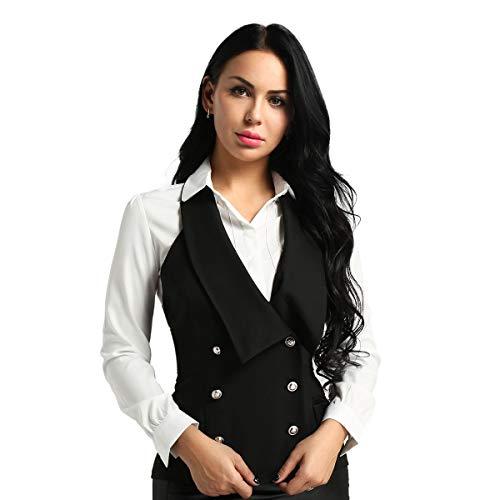 TiaoBug Damen Weste Anzugweste in rot, schwarz ärmellose taillenlange Jacke Basic Klassisch Modisch Business Westen Business Outfits Oberteil S-XXL Neckholder S