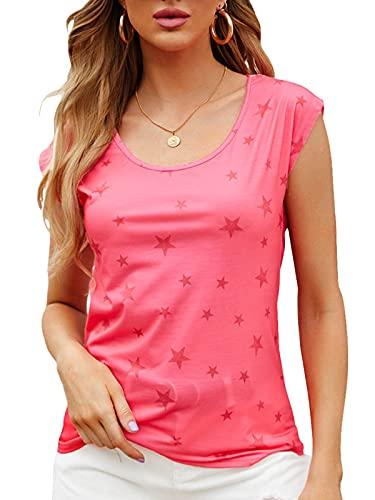 YOINS T-Shirt Damen Shirt Oberteile Sexy Oberteil für Damen Tops Sommer Einfarbig Ärmellos Rundhals mit Sterne Neu-Rot XL