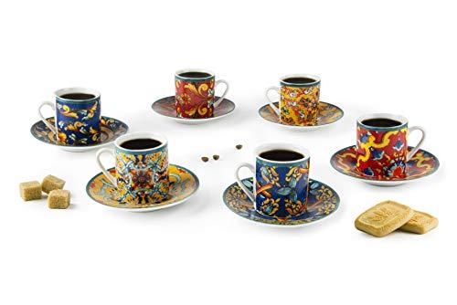 Excelsa Set mit 6 Espressotassen mit Untertasse Trinacria