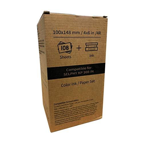 Hiti Patrone und Papier für Canon Selphy CP1200 CP1300 CP1000 CP910 CP900, 100 x 148 mm/3 Ribbon + 108 Blatt Fotopapier, 1, 4 Farben