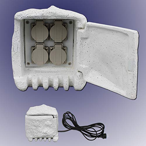 Trango 4-Fach IP44 Steckdosenstein Granit Optik Grau TGSTD4 für Ihren Garten Steckdosen für Außen inkl. ca. 5 Meter Zuleitung