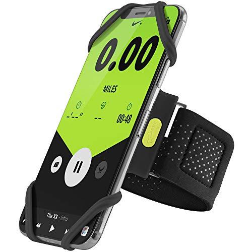 Bone Collection Sportarmband für Handy, Federleichtes Handy Armband zum Joggen Handytasche Sport, Handyhalter Arm für iPhone XS Max XR X 8 7 6 Plus Samsung Galaxy S10 S9 S8 Note 9 - Schwarz (Groß)