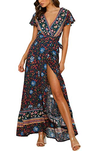 ECOWISH Damen Kleider Boho Sommerkleid V-Ausschnitt Maxikleid Kurzarm Strandkleid Lang mit Schlitz Schwarz Blau XL