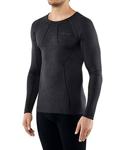 FALKE Herren, Langarmshirt Wool Tech. Long Sleeve Comfort Fit Merinowollmischung, 1 er Pack, Schwarz (Black 3000), Größe: L