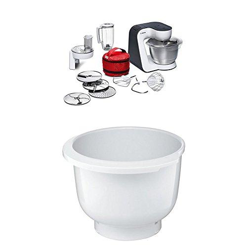 Bosch MUM50E32DE Küchenmaschine StartLine, 800 W, 3,9 L Edelstahl-Rührschüssel, umfangreiches Zubehör, weiß / anthrazit + MUZ5KR1 Kunststoff-Rührschüssel für Küchenmaschine Mum5