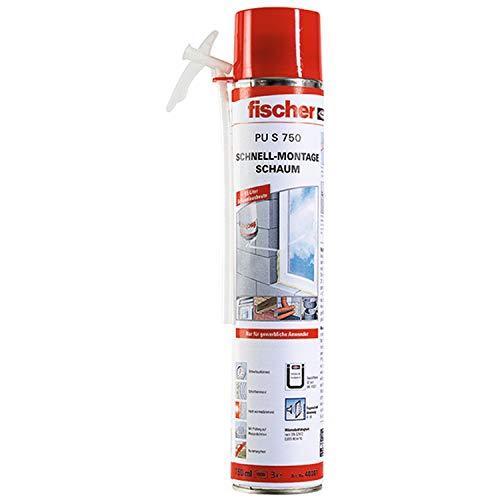 fischer S 750 PU-Adapterschaum für die Dämmung, Verfüllung und Isolierung von Fugen, aufschraubbares Adapterröhrchen, B2, beige, 750 ml-1 Stück-Art-Nr. 40301, weiß