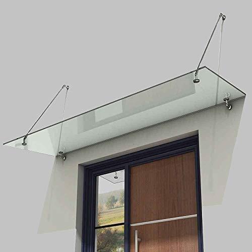 Euro Tische Vordach für Haustür aus belastbarem ESG Sicherheitsglas - Glas Überdachung in 3 verschiedenen Größen + Halterung aus Edelstahl (150x90cm)