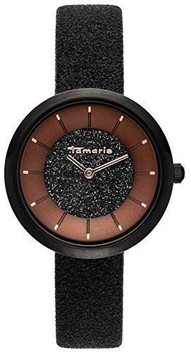 Tamaris, Bea, DAU 34mm, schwarz, ZB braun, Lederarmband Glitzer schwarz