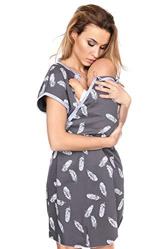 MijaCulture 3 in1 Geburtskleid Stillnachthemd Umstandsnachthemd 4123 (S / EU36, Graphite/mit Federn)