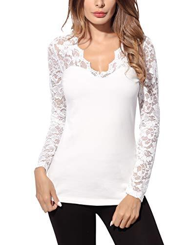 DJT Damen Langarmshirt Bluse V-Ausschnitt Kragen mit Floraler Spitze Weiss S
