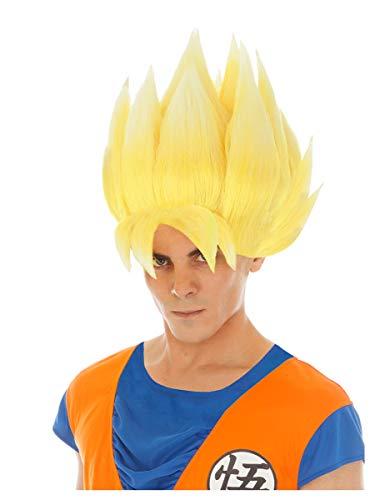 Saiyan Goku-Perücke für Erwachsene Dragonball Z gelb