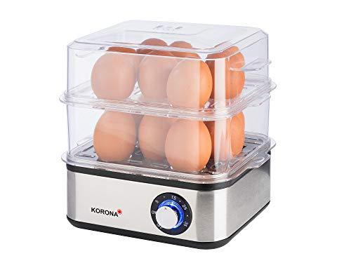 Korona 25303 Edelstahl Mini Dampfgarer und Eierkocher   Kleiner Dämpfer für Gemüse   Profi Kocher für bis zu 16 Eier