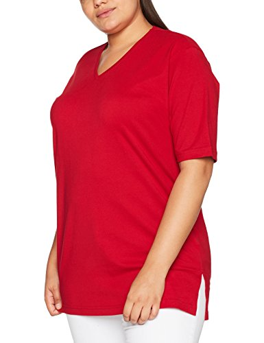 Ulla Popken Damen V-Ausschnitt T-Shirt, Rot (Rot 57), 42/44