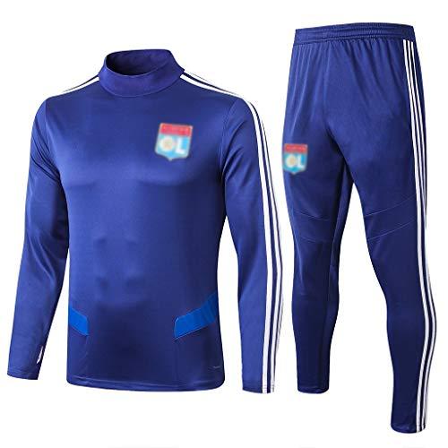 Big25cm Go! Fußballplatz! Europäischer Fußball.Männer Four Seasons Blau Langarm Fußball-Trainingsanzug, Jogging Breathsportswear (New Version) -Y038 (Color : Blue, Size : S)