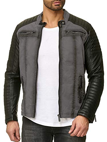 Redbridge Red Bridge Jacke Herren Biker Kunstleder Lederjacke Jacket mit gesteppten Bereichen (XL, Grau)