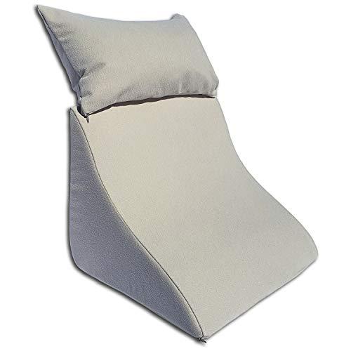 Formalind Lesekissen-Set für Bett und Sofa – Ergonomisch geformtes Keilkissen Plus kuscheliges Sofakissen zum Lesen, Fernsehen und Entspannen (beige)