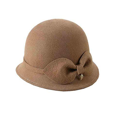 SUN Frauen Bowler Hüte Cloche Hut Wollfilz Caps,Fischerhut Kirche Damen Melonen Glockenhut Herbst Und Winter Bowknot (Farbe : Leicht gebräunt)