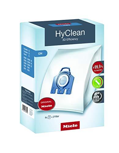 Miele Original Zubehör GN HyClean 3D Staubbeutel / filtert mehr als 99,9 prozent aller Feinstaubpartikel / 4 Staubbeutel, 1 Motorschutzfilter, 1 Abluftfilter / für Staubsauger / Blau