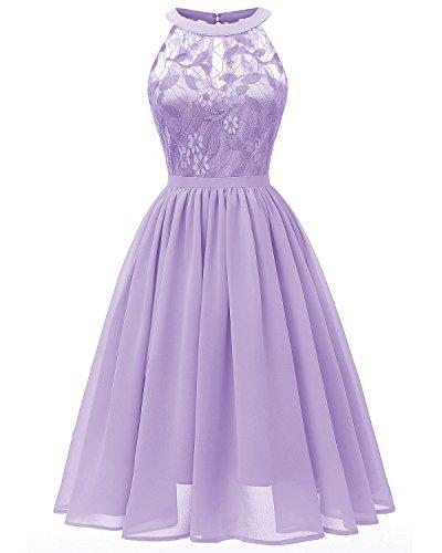 Viloree Damen Neckholder Floral Spitze Brautjungfern Partykleid Ärmellos Cocktail Kleid Lavendel S