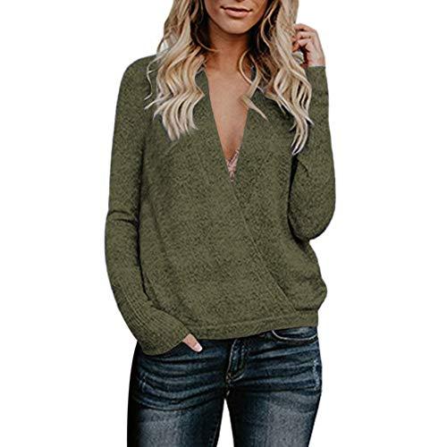 SANFASHION Damen Pulli Langarm T-Shirt V-Ausschnitt Lose Bluse Langarmshirts Hemd Pullover Sweatshirt Oberteil Tops Shirts