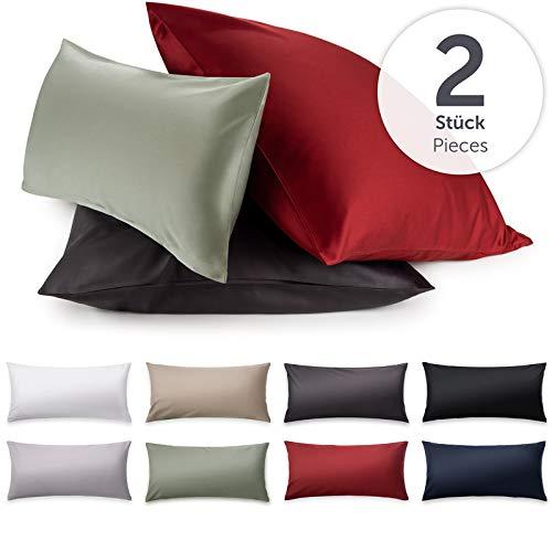 Blumtal 2er-Set Mako Satin Kissenbezug 40 x 80 cm - 100% Baumwolle, Superweicher Kopfkissenbezug 40x80, Kissenhülle, Aurora Red