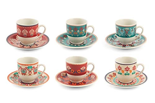 Villa D'Este Home Tivoli 2195371 Shiraz Set aus 6 Espressotassen c/p, Porzellan
