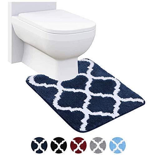 Homaxy rutschfeste WC-Vorleger Waschbar WC Teppich Klovorleger mit Ausschnitt Weiche Hochflor Toiletten Vorleger- 50 x 60, Marine Blau