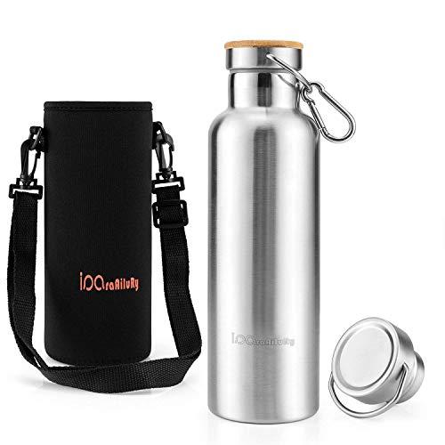 iParaAiluRy Trinkflasche Edelstahl mit Bambus Kappe (2 Trinkverschlüsse) - BPA freie Thermosflaschen 500/600/750/1000ml - Vakuumisolierte Doppelwandig Isolier Flasche