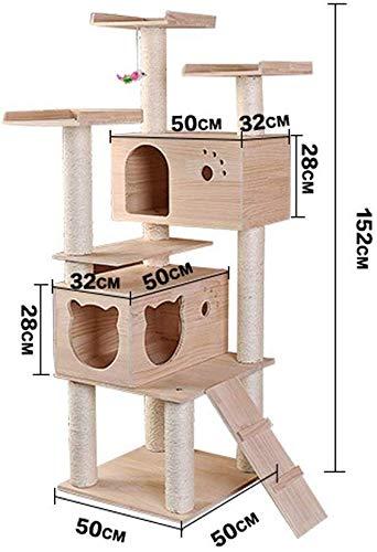 CLQya Kratzbaum Kletterturm Große Katze Kletterbaum Massivholz Katze Treecat Klaue Vorstand Katzentoilette Massivholz-Regal Kiefer Klettergerüst Praktische Spielzeug für Ihre kleine Katze,Bild Farbe,