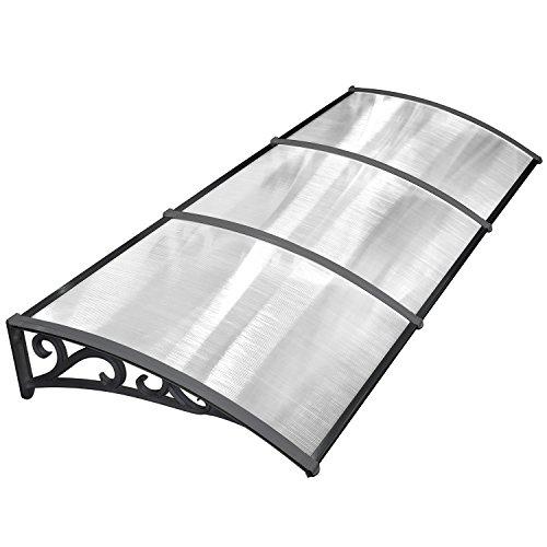 MVPOWERVordachfürHaustür270x98.5x28cm,ÜberdachungHaustürvordach,TürvordachPultbogenvordach,Hohlkammerstegplatten5mm,Polycarbonat,transparent, SonnenschutzRegenschutzfürdraußen,schwarz