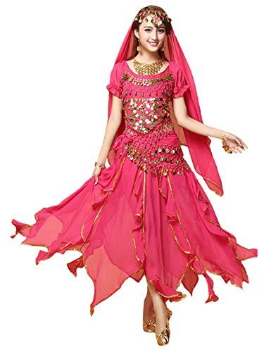 besbomig Professionel Indische Kleidung Damen Bauchtanz Kostüm - 6 Stück Kurze Ärmel Sequenziert Indischer Tanzsatz