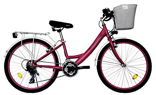T 24 Zoll Kinder Mädchen Damen City Fahrrad Damenfahrrad Cityfahrrad Citybike Mädchenfahrrad Bike Rad 21 Gang 5100 PINK