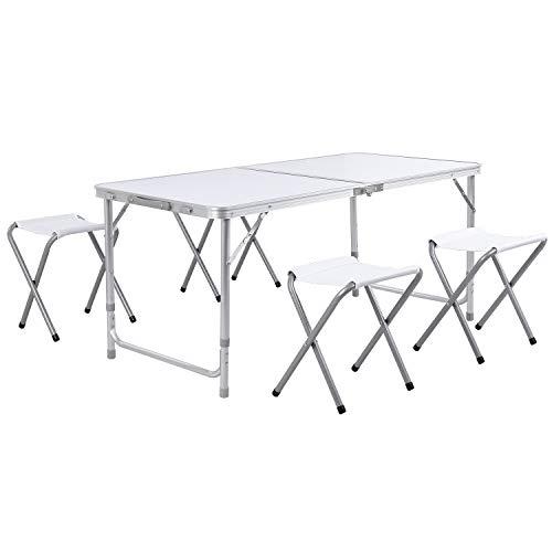 Homfa Campingtisch Klapptisch Gartentisch Falttisch mit 4 Stühlen aus Aluminium faltbar höhenverstellbar weiß 120x60x55/60/70cm