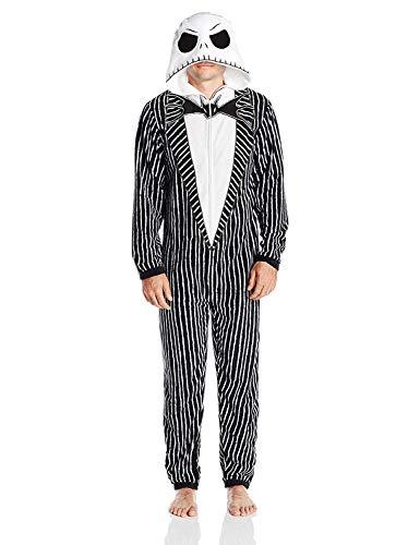 Disney Herren Jack Skellington Hooded Union Suit Pyjama Set, Nightmare Black, X-Large