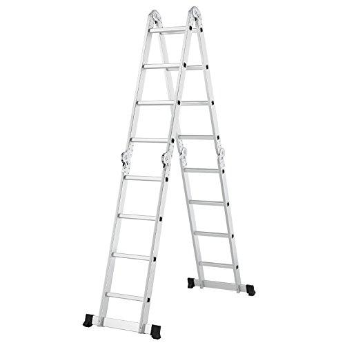 Juskys Aluminium Multifunktionsleiter 4x4 Stufen – 4,7 m Gesamtlänge - Gelenkleiter - Klappleiter – Stehleiter – Aluleiter klappbar - 4-teilig