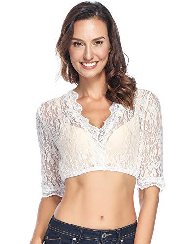 BesserBay Damen Trachtenmode Dirndlbluse mit Stehkragen Spitze Dirndl Bluse, 1004 Spitzenbluse, Gr.- 36/Etikettengröße - S