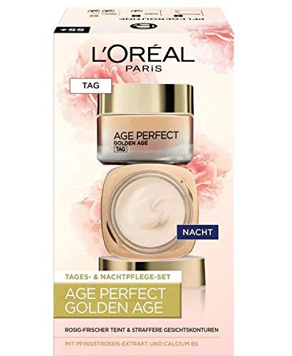 L'Oréal Paris Gesichtspflege Set, Age Perfect Golden Age, Anti-Aging Tagespflege und Nachtpflege, Festigung und Glanz, Für reife und fahle Haut, Mit Pfingstrosen-Extrakt, 2 x 50 ml